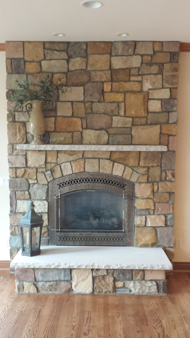 Gold Rush Natural Thin Veneer From General Shale Rock With Limestone Mantel Amp Hearth 864 Fpx Dv