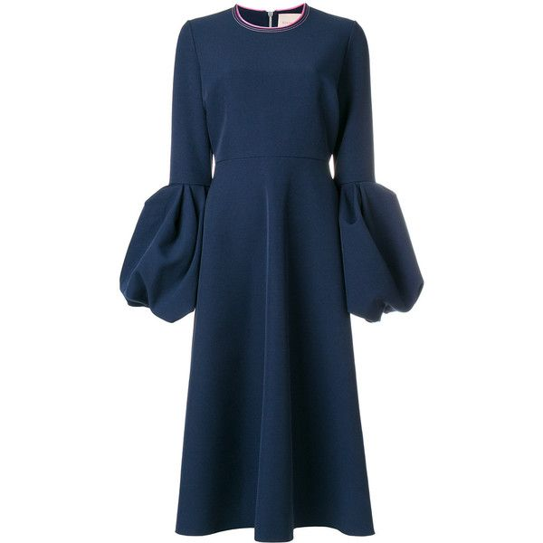 Roksanda Aylin puff sleeve dress ($1,690) ❤ liked on Polyvore featuring dresses, blue, blue circle skirt, circle skirts, roksanda dress, puff long sleeve dress and long sleeve day dresses