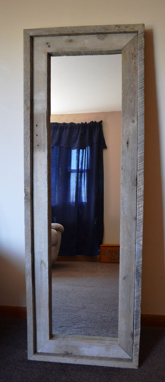 Reclaimed barn wood full length standing mirror. This would look great leaning on the wall as a standing mirror or hung length wise.  Mirror measures