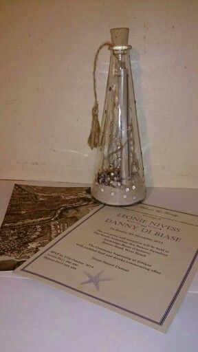 Wedding invitation, beach theme, message in a bottle made by From Missy With Love www.frommissywithlove.com