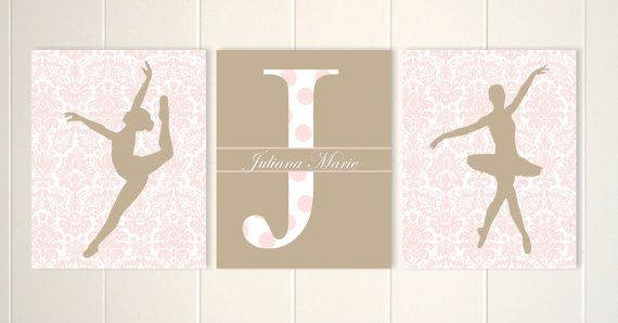 Little girl ballerina wall art ballet dancer by PicabooArtStudio