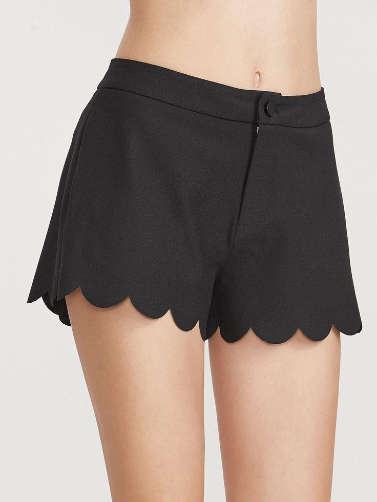 Shorts festonné large -noir -French SheIn(Sheinside)