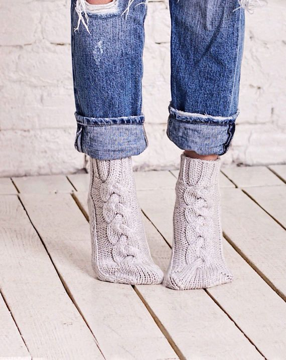 Wool socks women Cable socks Grey knitted socks Bed socks