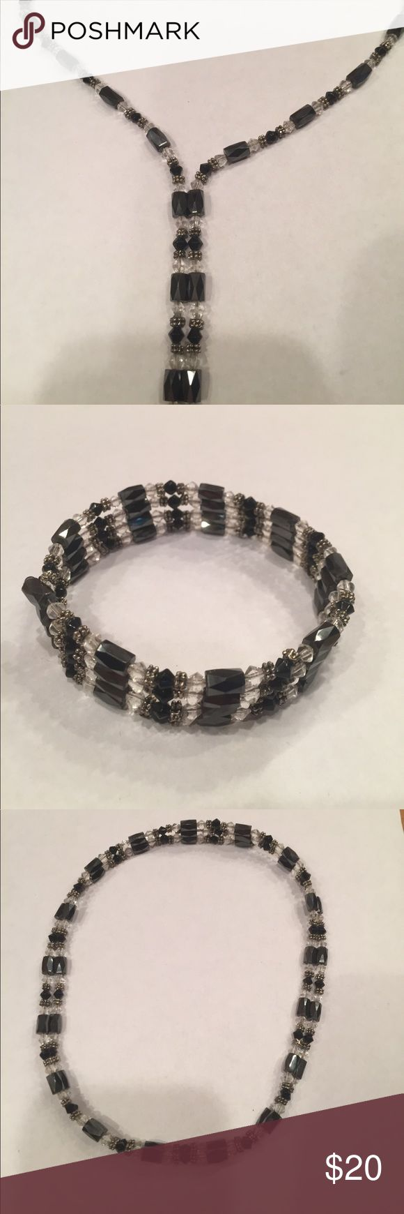"""Hematite Magnetic Necklace or Bracelet Magnetic Hematite strand of beads that can be worn as a choker, lariat, long necklace, or bracelet.  36"""" long. Jewelry Necklaces"""