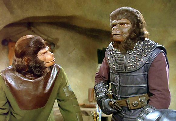 "Roddy McDowall as Galen and Mark Lenard as Urko in ""Escape From Tomorrow"" (1974) http://archives-of-the-apes.blogspot.co.uk/ #PlanetOfTheApes"