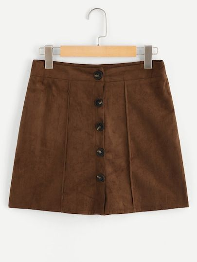 1ee323d5f Shop Button Up Front Solid Skirt online. SheIn offers Button Up Front Solid  Skirt & more to fit your fashionable needs.