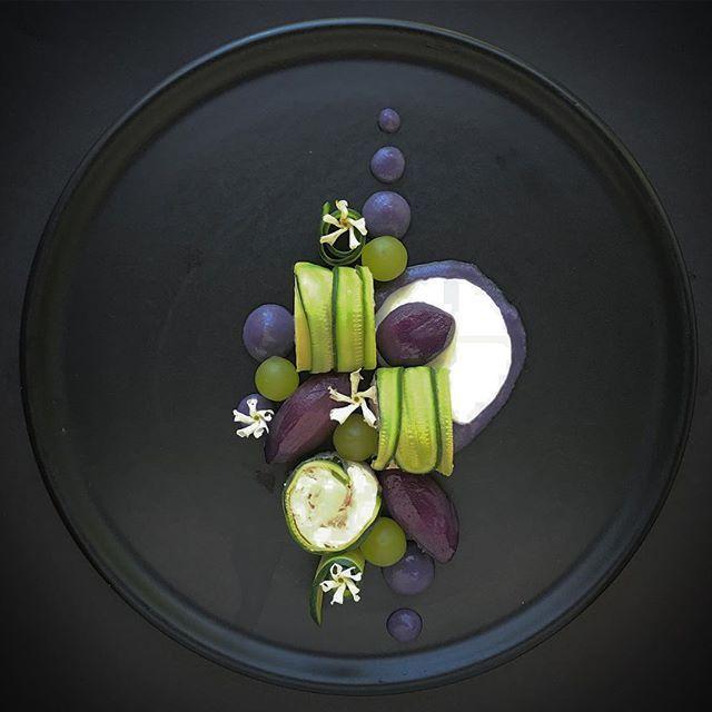 Deep, dark and purple /// Chicken & Courgette Cannelloni, Parma Whey, Grapes & Purple Glazed Potatoes 👨🍳💜