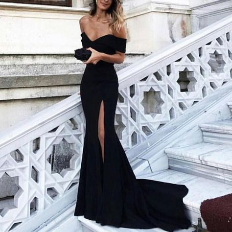 Black Evening Dress,Mermaid Prom Dress,Mermaid Evening Gowns,Off Shoulder Bridesmaid Dress,Black Formal Dresses