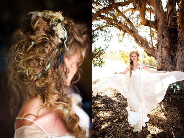 hippie-chic wedding with Jane Austen flair.  Great hair style, so romantic!