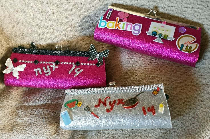 Preglittered purses from Plush Appeal with various embellishments. Mystic Krewe of Nyx, Mardi Gras 2014