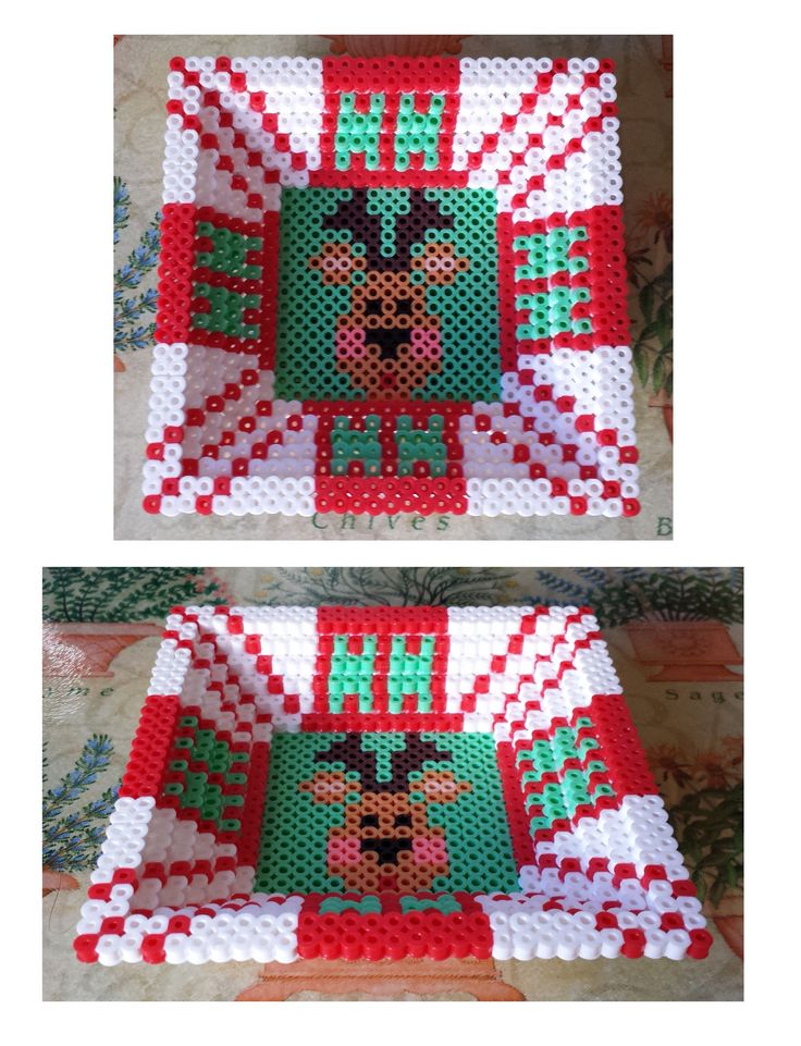 Image only :     Square 3D Perler Christmas candy dish.