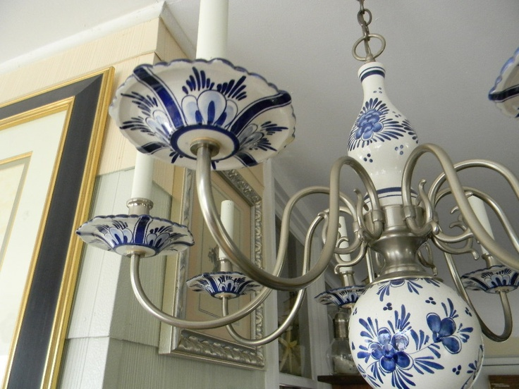 Delft Chandelier Blue White Pewter Vintage Rare Price