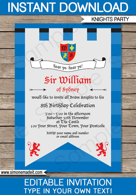 Knight Theme Party Invitation & Decorations full Printable