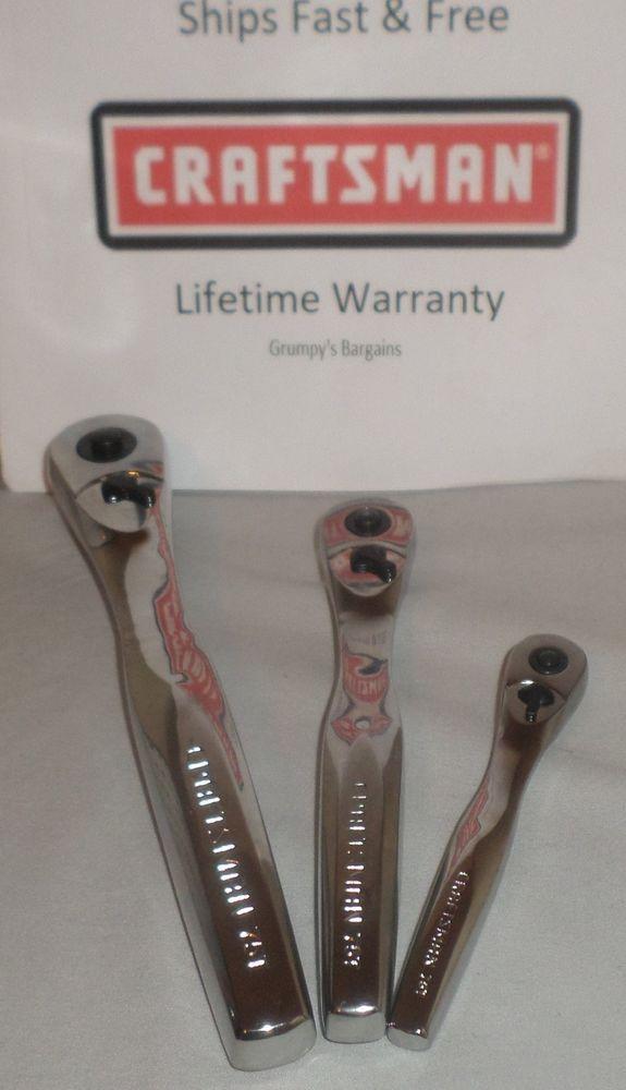 CRAFTSMAN TOOLS 3pc 1/4 3/8 1/2 FULL POLISH Ratchet socket wrench set !! #Craftsman