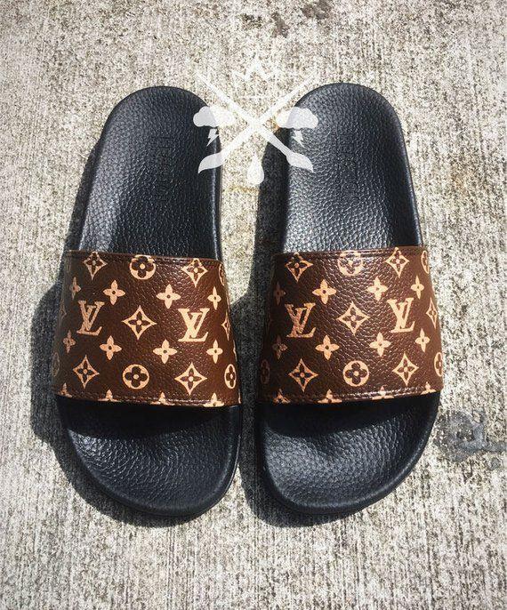 fc3d677db65a Louis Vuitton Luxury Designer LV Custom Slides Sandals Flip
