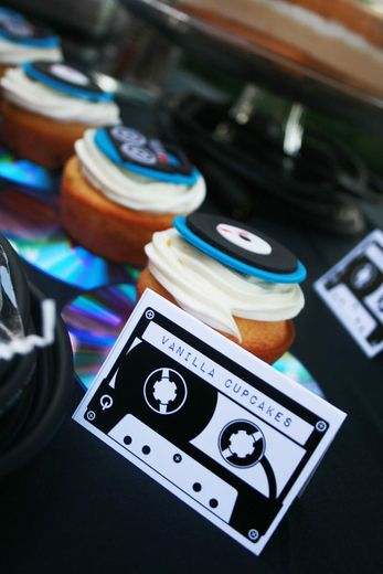 DJ themed cupcakes at a DJ rockstar birthday party! See more party ideas at CatchMyParty.com. #DJ #rockstar #cupcakes