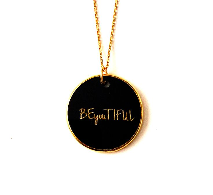 BEyouTIFUL Gold plated silver chain and black  plexiglass necklace