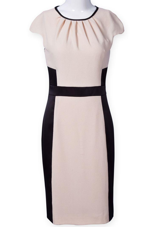 Apricot Black Cap Sleeve Dress
