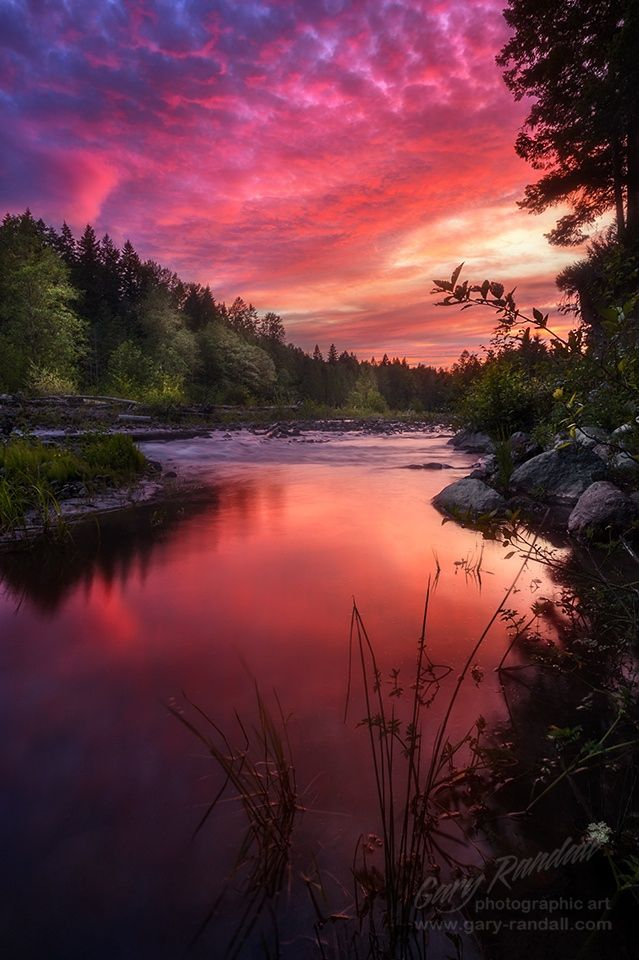 The unset above the Sandy River near Mount Hood Oregon. The sunset was affected by the smoke in the sky from the Central Oregon forest fires.