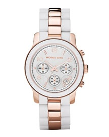 Y0MNL Michael Kors Two-Tone Silicone Watch, Rose Gold/White