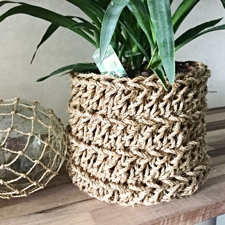 Heavy rope crochet basket, serious storage! A few sizes available!