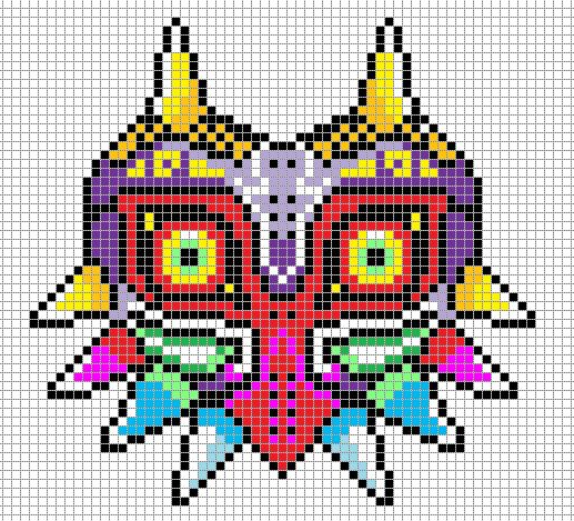 Pixel art of Majora's Mask from LoZ Majora's Mask on the Nintendo 64. LIKE THIS PIXEL ART? Visit for more grids just like this! Pokemon, Zelda, Mario, and much much more! Please Credit my grids if ...