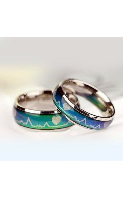 Special Idea'Feel Your Heartbeat'Color Changing Mood Rings as Birthday Anniversary Gift(price for a pair)