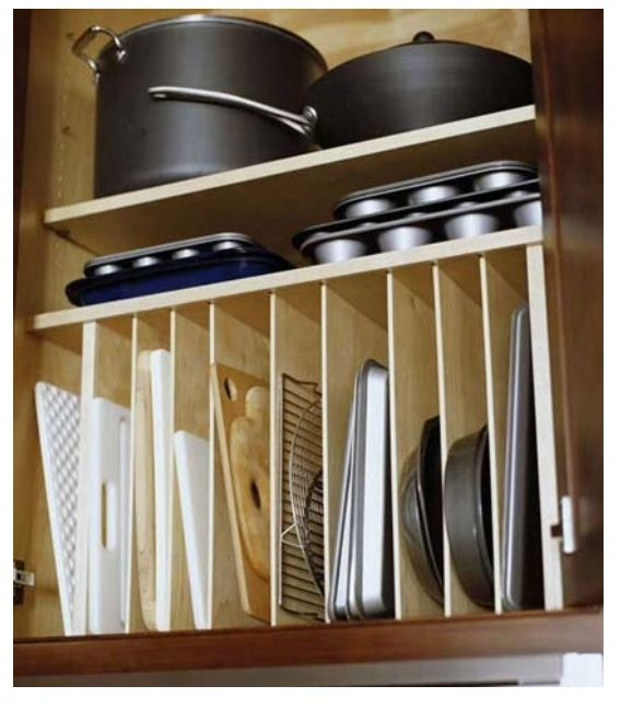 Would Be Nice To Do With My Pots And Pans Storage Cupbord! A Tall Enough  Cabinet For The Tall Pots A Shallow Enough For Baking Pans. And Vertical  Storage ...