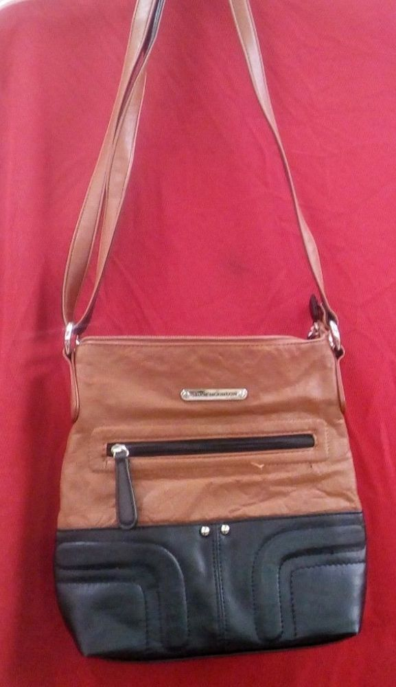 70fd96d93ede99 Stone Mountain Crossbody Leather Bag (Black & Tan) #StoneMountain #Crossbody