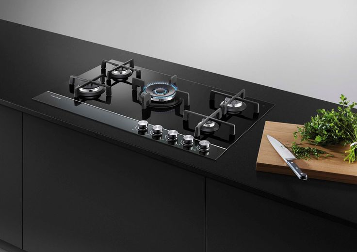 Fisher & Paykel 90cm Gas on Glass Cooktop (CG905DNGGB1). This five burner gas cooktop is one of the award-winning Gas on Glass family of appliances designed using premium-quality materials. The materials and finishes include a defining polished metal trim, black reflective glass control panel and black ceramic glass cooking zone.