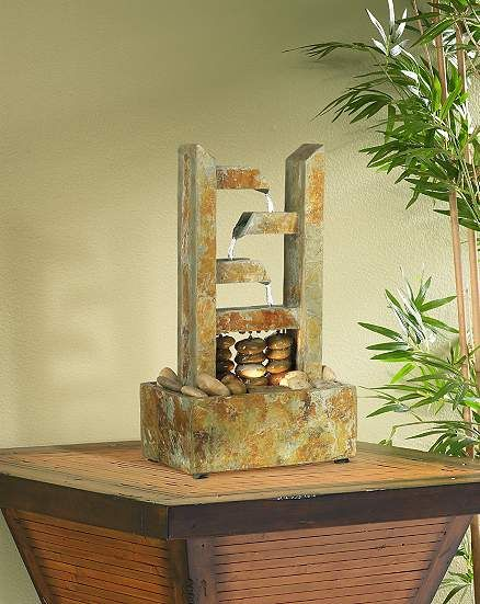 """Zigzag Natural Slate Lighted 17 1/4"""" High Table Fountain - #N5189   Lamps Plus"""