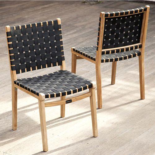 Chaises de jardin en teck brut et nylon (par 2) Ethnika : Decoclico