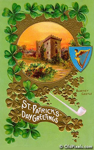 A vintage Saint Patrick's Day greeting card illustration with the famous Blarney Castle in Ireland - circa 1910. This image is part of a collection of 12 Vintage St Patrick Art images -- all digitally restored and available as prints or hi-res downloads.