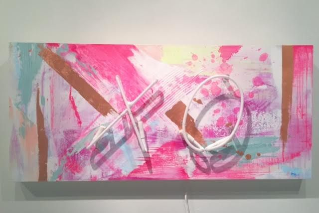 "XO Acrylic, gold and copper lear on panel, white neon 18"" x 40"" $1370"