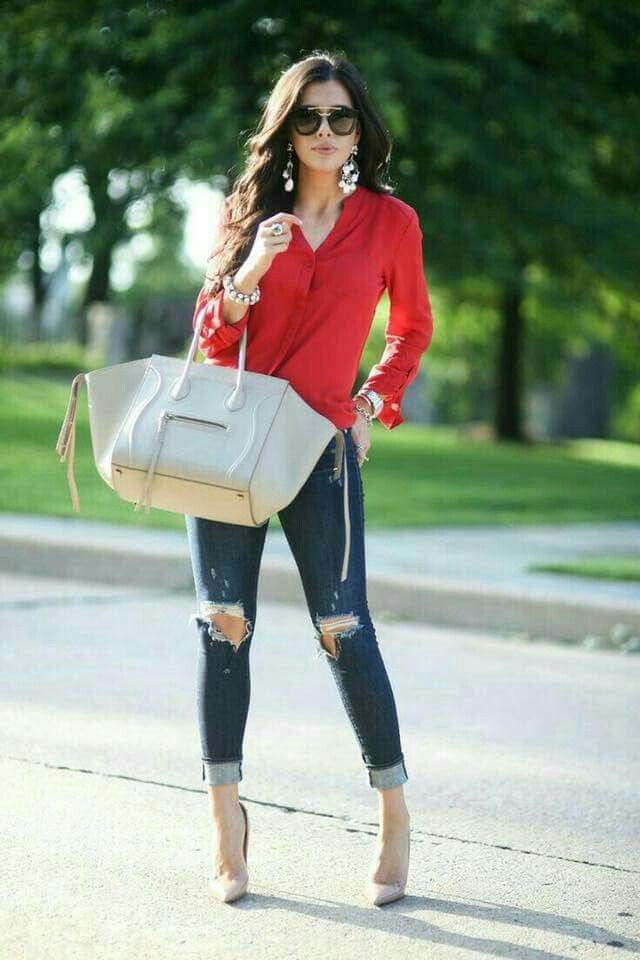 Red blouse & distressed jeans