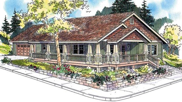 Cottage Country Craftsman Ranch House Plan 59754