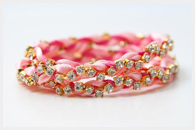DIY: rhinestone braided bracelet