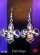 Click on picture to purchase. Fleur De Lis LSU earrings, accessories, LSU, tigers, eye of the tiger, purple, gold, football, baseball