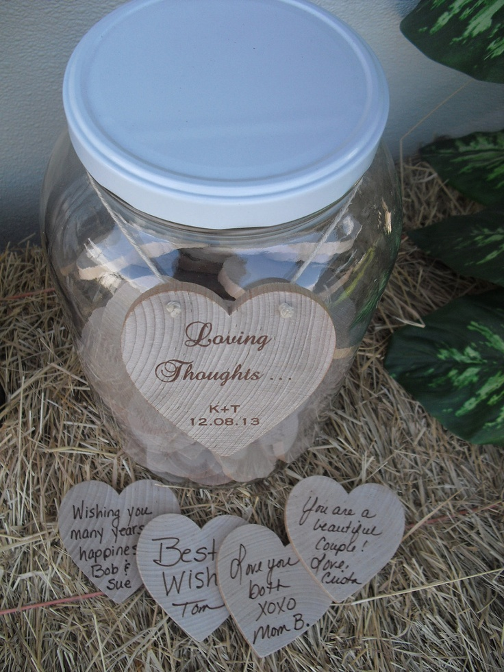 alternative to a guestbook..cool jar of hearts with special thoughts....