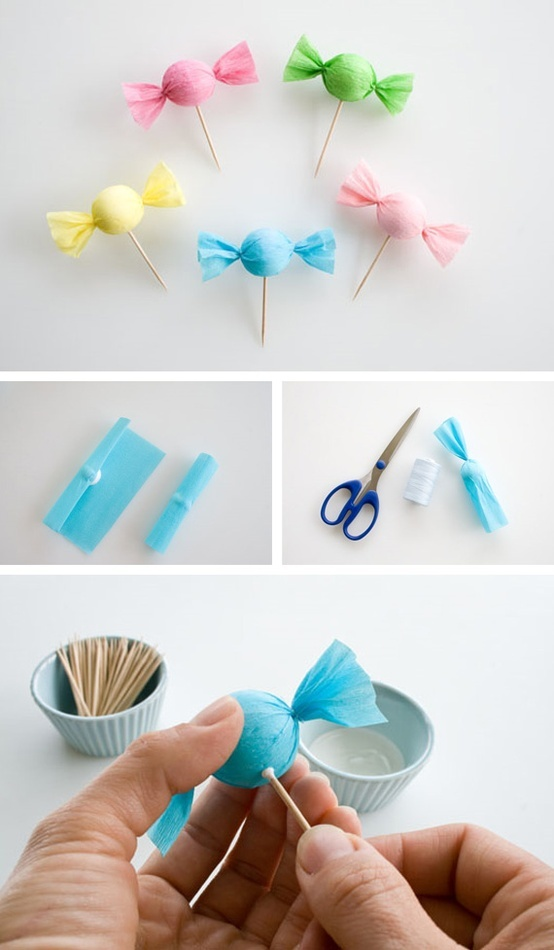 cake pops using Styrofoam and tissue paper and toothpicks