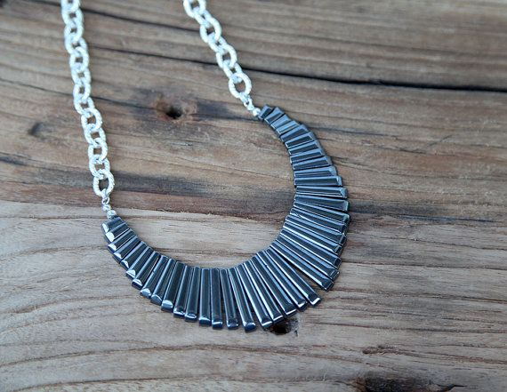 Hematite and sterling silver plated chain statement fan necklace
