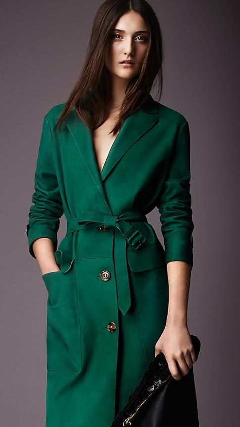 Teal green Lambskin Trench Coat - Image 4