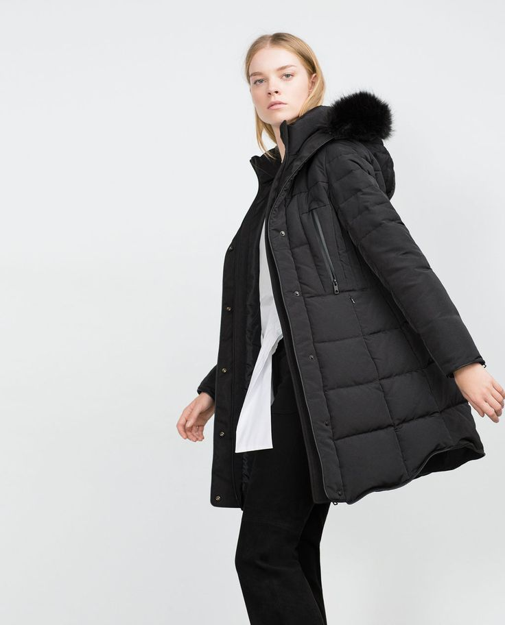 LONG QUILTED COAT WITH DETACHABLE FAUX FUR-View all-Outerwear-Woman-COLLECTION SS16 | ZARA United States