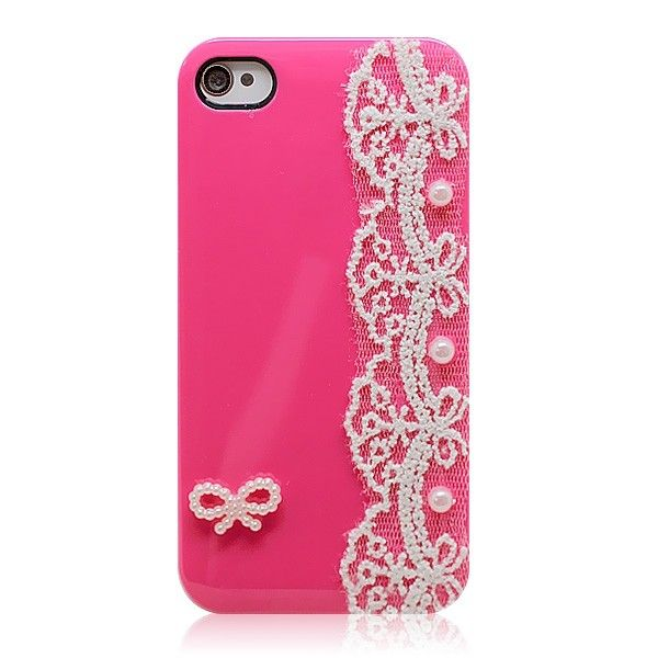 Attractive Sweet Voile Lace Candy Color Skin Case Cover for iPhone 4/4S/5
