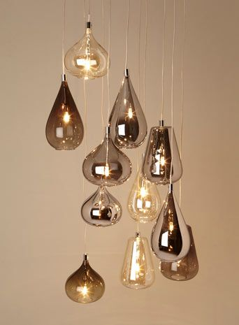 Smoke Nadine Cluster £200.00 Colour: smoke This striking cluster pendant combines a mixture of smoke, iridescent and golden blown glass shades. The shades can be arrange in any formation and cables shortened which makes this product flexible for any interior.