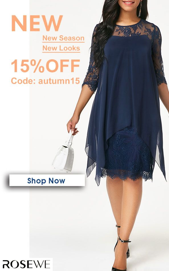 424c64edc42 Chiffon Overlay Navy Three Quarter Sleeve Lace Dress. rosewe dress ...