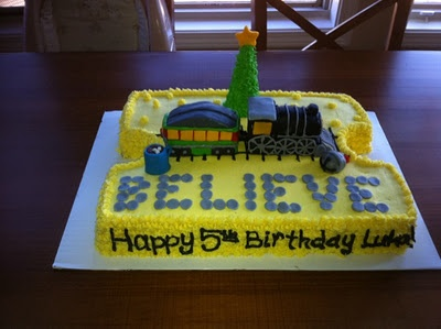 Polar express ticket birthday cake