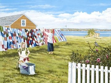 """""""Washday"""" by Norman Bursey So beautiful to see #quilts on the clothesline, true artistry."""