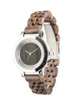 """Wooden watch JULIA: Designed out of dark sandalwood and a case of stainless steel makes """"Julia"""" a real eye-catcher. Thanks to the inwrought Swarovski-beads the watch appears particularly noble."""