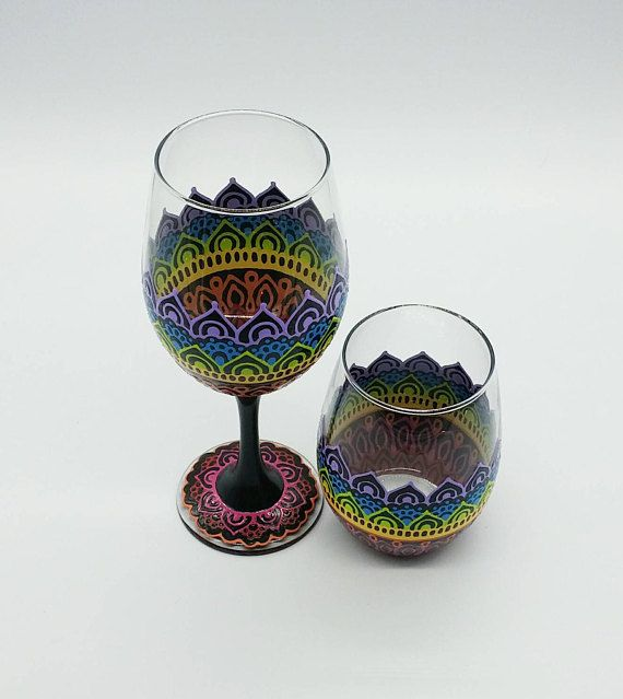 Rainbow Henna Boho Wine Glass Hand Painted Stemmed or Stemless
